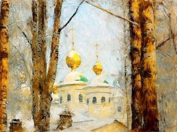 Зимний пейзаж с церковью цифровая